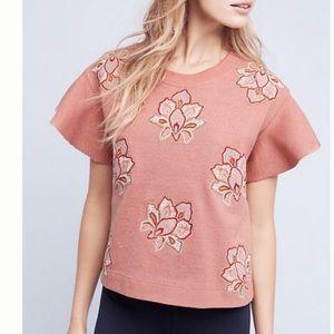 Anthropologie embroidered sweatshirt top.